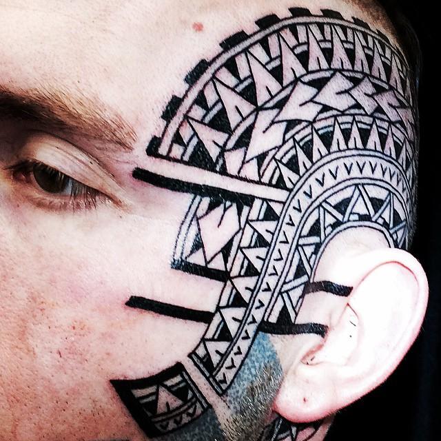 facetattoo Polynesian marcdiamond @studioxiiigallery