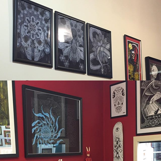 Framed and helping my tattoo studio look even more beautiful. Thank you @nathanmouldtattoo for sending over your art - the photos don&039;t do them justice. So happy to walk in and see these beauties everyday! mandala geometricart patternwork supportingawesomeartists tattooshoprefurb inspiration edinburghtattoostudio scotland