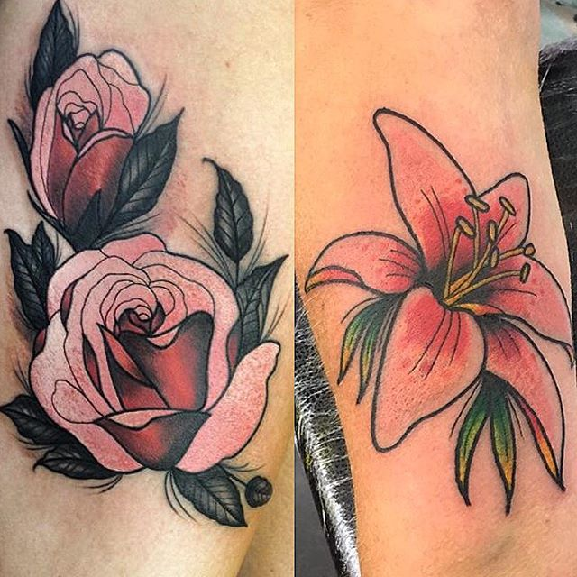 Pretty roses by @naiomitattoo and a beautiful lily by @rvltattoo femininetattoo colourtattoo @studioxiiigallery edinburghtattooartist edinburghtattoostudio
