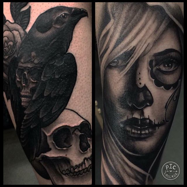 It&039;s all in the details. Beautiful tattooing by @galleontattoo blackwork blackandgreytattoos skulltattoo blackcrow dayofthedeadtattoo diademuertes edinburghtattoo edinburghtattooartist edinburghtattoostudio @studioxiiigallery