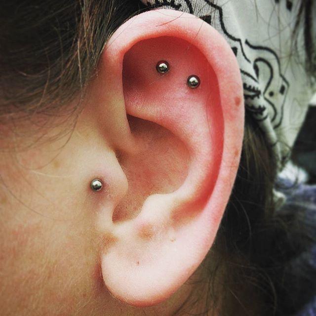 Fun little double done today (healed tragus also by me) studioxiii piercingsofinstagram earpiercing edinburghpiercer femalepiercer