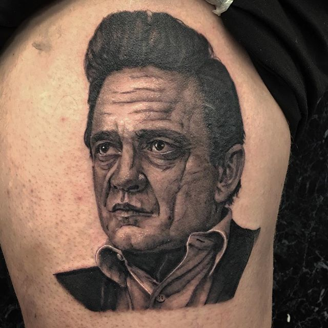 Had A Lot Of Fun Tattooing This Johnny Cash Portrait Start Of A