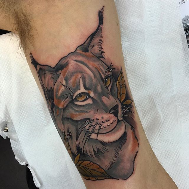 Lynx tattoo on the inner bicep thanks niall for tattoo for How to email a tattoo artist