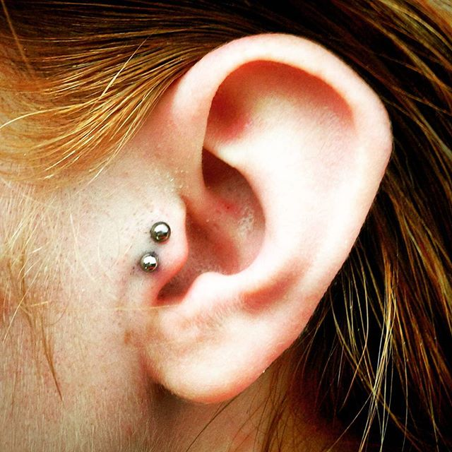 Fun wee double tragus done today. This customer is made of tough stuff! studioxiii traguspiercing tragus femalepiercer earpiercing scottishpiercer