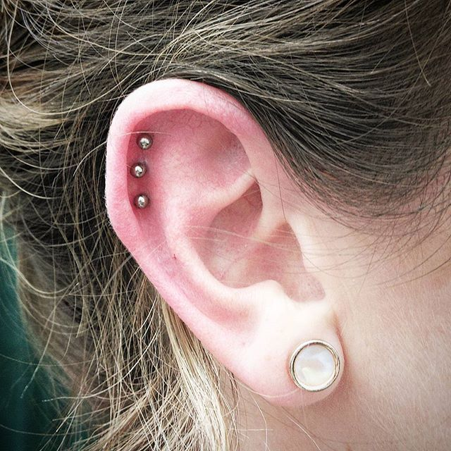 Fun triple helix this afternoon. Lovel doing multiple piercings like this! studioxiii
