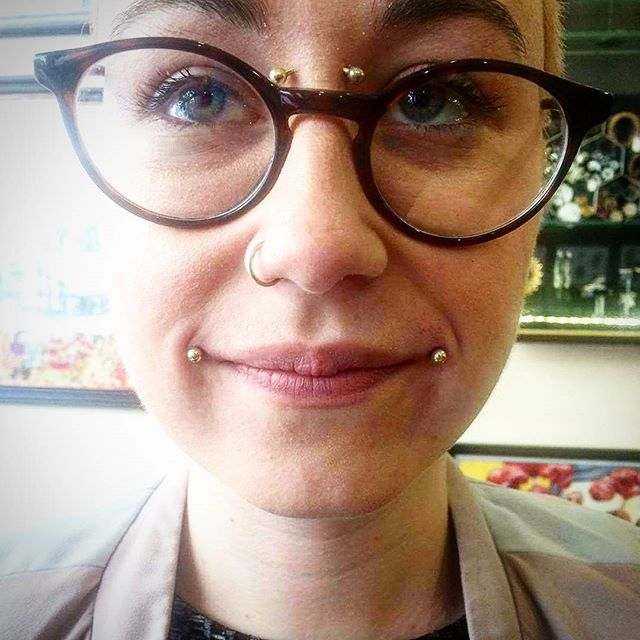 Lovely new dahlia bites done today to compliment healed bridge from a while back. Don&039;t get to do these nearly enough! @sarahjaynesnow92 piercingsofinstagram piercing instapiercing lippiercing dahliabites bridgepiercing goldtitanium edinburghpiercer stxiii studioxiiigallery stxiii
