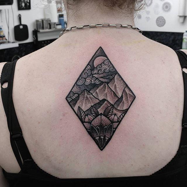 Mandala and mountain scene tattoo I made yesterday super happy on the outcome :) done at studioxiii in edinburgh scotland stipple