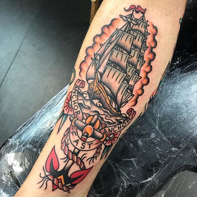 Clipper ship on @thebarbershopedinburgh _________________ Done at @studioxiiigallery _________________ studioxiii BlackClawUK blackclawneedle tradtattoo tradworkers tradworkerssubmission blacktattoo blackworkers  boldtattoos boldwillhold sailorjerry traditional traditionaltattoo oldschool oldschooltattoo elbowtattoo eternalink  girlswithtattoos tattoogirls tatsoul  girlswithtats playboy playboytattoo hughhefner hefner