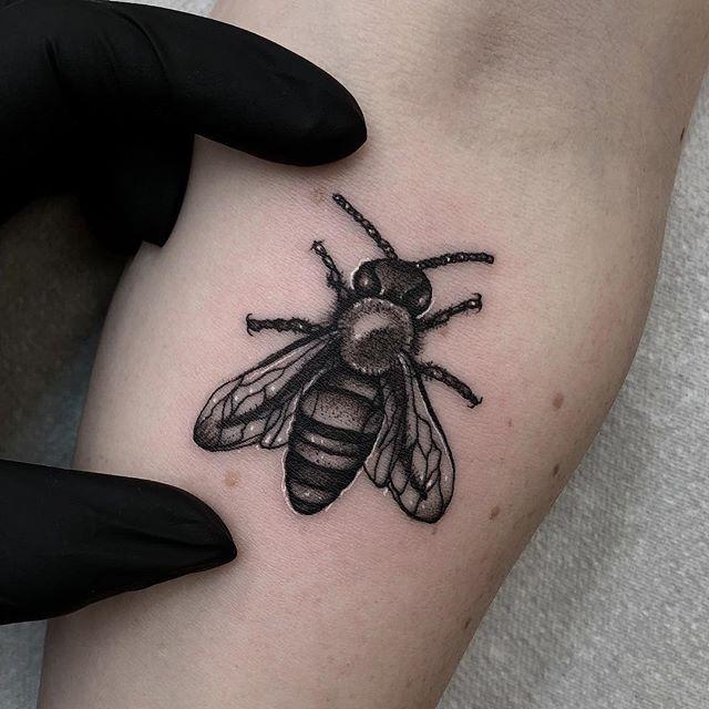Tiny little bee from today  Thanks Antonia is always a pleasure 🖤 edinburgh edinburghtattoos scotland tattoo tattoos tatted tattooed tattooer tattooing tattooist tattooart instart instatattoo follow followme tinytattoo picoftheday inkaddict ink inked blackandgreytattoo bee beetattoo newtattooworkers studioxiii tattooshop tattoolife