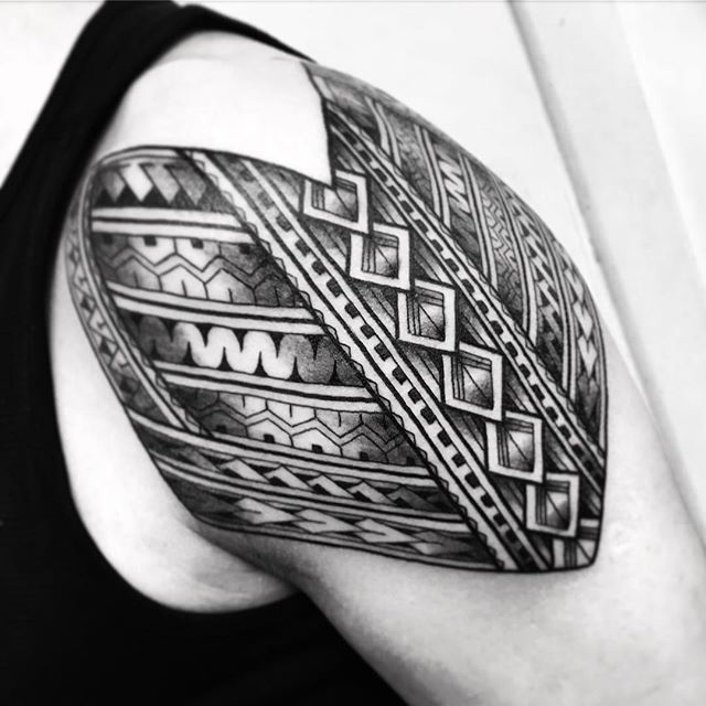 First 3 hours for Neil on his polynesian sleeve. Thanks for trusting me with yr first tattoo. freehand @studioxiiigallery studioxiii tribal tribaltattoo @allegoryink @blackclaw samoaninfluenced