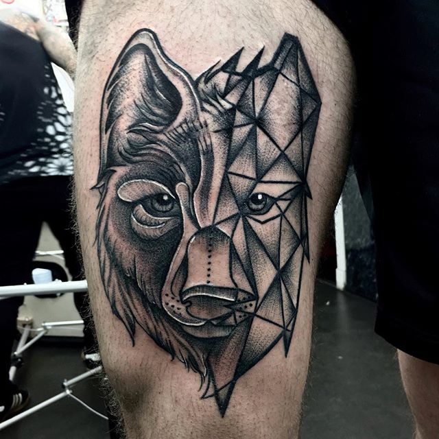 Geometric wolf on the gorge Anthony. Part healed part fresh. Thanks Anthony  xxx tattoo edinburghtattoo femaletattooartist tattooartist tattoodesign ladytattooer bestoftheday newschooltattoo photooftheday dotting wolftattoo darkartists tttism equilattera dotwork blackwork dotworktattoo @blackworkers_tattoo @darkartists @blackworkers oldschooltattoo blackworkers blackworkerssubmission topclasstattooing blackboldsociety btattooing blxckink instatattoos classictattoo londontattoo geometrictattoo onlythedarkest studioxiii