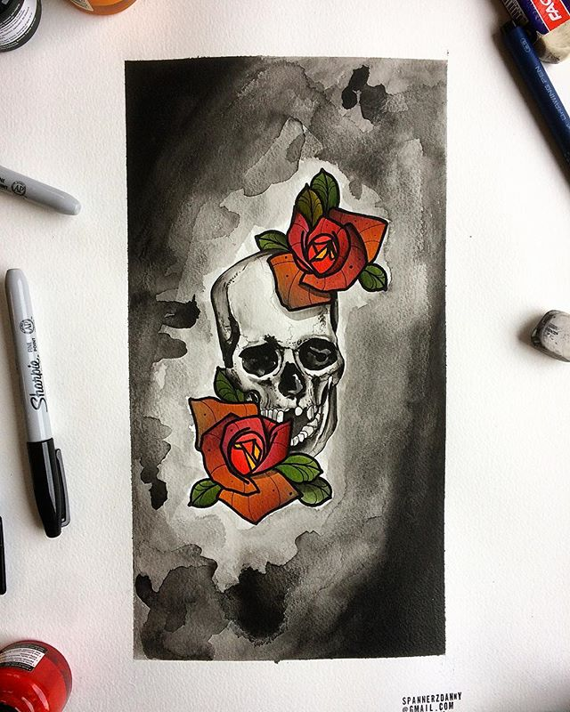 Same old shit. Flowers & bone dome.tattoo tattooflash tattooing edinburgh painting paintings flash flashworkers neotraditionaltattoo neotradeu wip spitshade uktattoos studioxiii skull bng blackandgrey