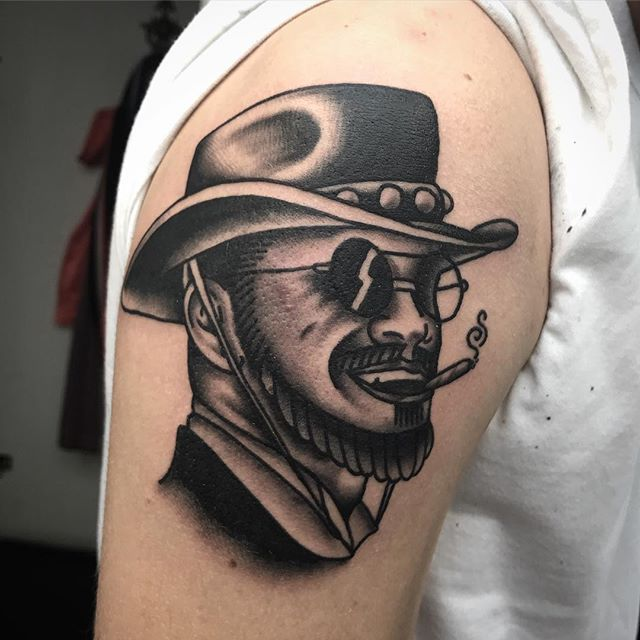 Hey lil' troublemaker _________________ Done at @studioxiiigallery _________________ studioxiii BlackClawUK blackclawneedle tradtattoo tradworkers tradworkerssubmission radtrad oldlines besttradtattoos uktta vladbladirons ninemag @gap_filler_tattoos djangounchained