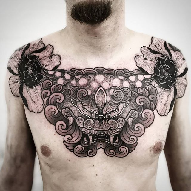 So here is the chest piece I worked on all of Saturday @tattoocollectivelondon in london this past weekend it was this champion&039;s first tattoo and holy shit did he take it well big thanks again for a great convention :) blackwork foodog peony . . . . studioxiii  kingpintattoosupply london whip  dotwork stipple miamitattoos  miamitattoo southbeach tattoos wynwood miamitattooartist tat ink inked  guyswithtattoos girlswithtattoos besttattoos  uktattooartist Miami blackworkerssubmission . . @sullenclothing @hushanesthetic @hatchback_irons @kingpintattoosupply @allegoryink @inkedmag @totaltattoo @tattoolifemagazine @tattooartistmagazine @tattoosnob @tattoodo @tttism @blackworkers @blackworkers_tattoo @uktta @darkartists @skinart_mag @tattoo.artists @theartoftattoos @dermalizepro @tattoosmart @tattoo_composition @tattooloversshop @statt_girl @blacktattooing @hyraw_clothing @inkedsociety88 @skinart_collectors @tattoo_collector @the.best.tattoo.page @tattooloveart