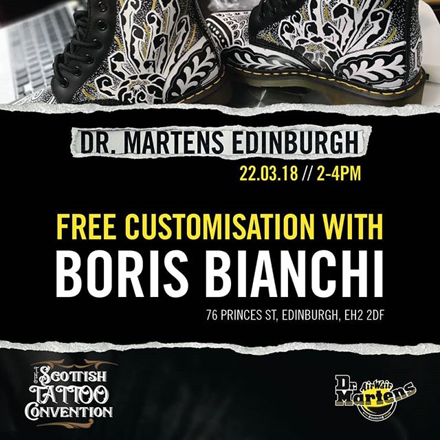 Tomorrow! I Will be at @drmartensofficial in Edinburgh scotland pimping out some boots come by say hello and get your boots hooked up :) scotland studioxiii drmarten