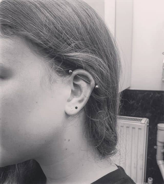 another day another ear for a chica who&039;s just finished her exams you go girl 😎 piercings industrial scaffold piercer edinburghpiercer studioxiii