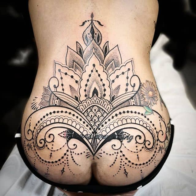 Great start on this blackwork henna style mandala coverup tattoo I did @divisionwynwood in wynwood miami can&039;t wait to finish it on the super awsome @raiingurl :) . . . . . studioxiii  kingpintattoosupply london whip  dotwork  miamitattoos  miamitattoo southbeach tattoos geometrip wynwood miamitattooartist london butt blackworkmountains girlswithtattoos booty besttattoos  Miami Hawaii losangeles