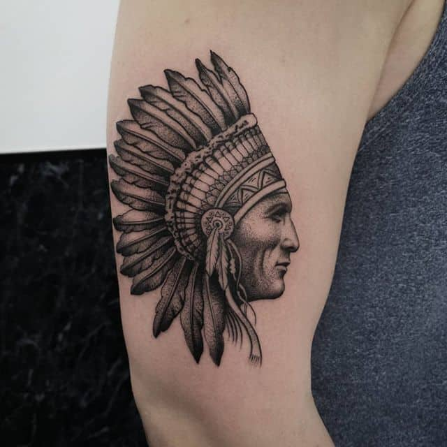 Would love to work on more Native American themed piecesstudioxiii nativeamericantattoo nativeamerican besttattoos pointillism