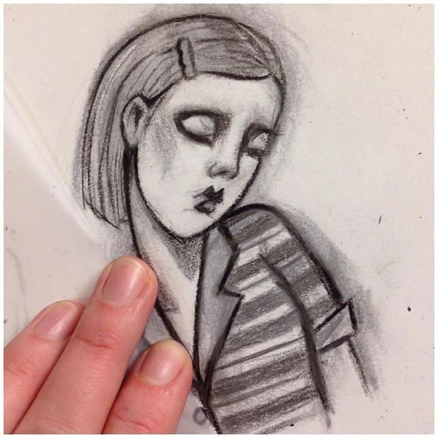 This grrl turned into Margot Tenenbaum ?? Need to redraw her other shoulder, but anyways.. anyone want a wee Margot?