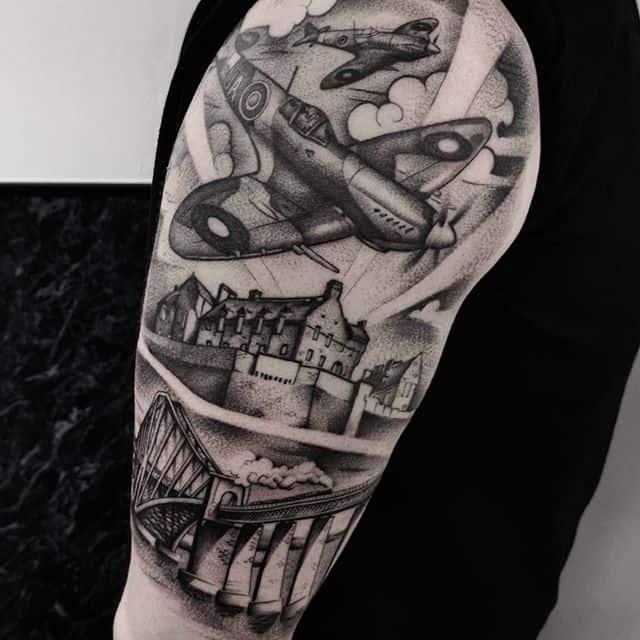 Castle and the spitfires are healed. Added the Forth Bridge  studioxiii bestattoos besttattooers edinburghtattoo edinburgh forthbridge engineering spitfire edinburghcastle uktta uktattooartist tttism tattooartwork tattrx healedtattoos healedtattoo inkdup tattooedpeople newtattoo scotland tattooart royalairforce raf cooltattoos pilots