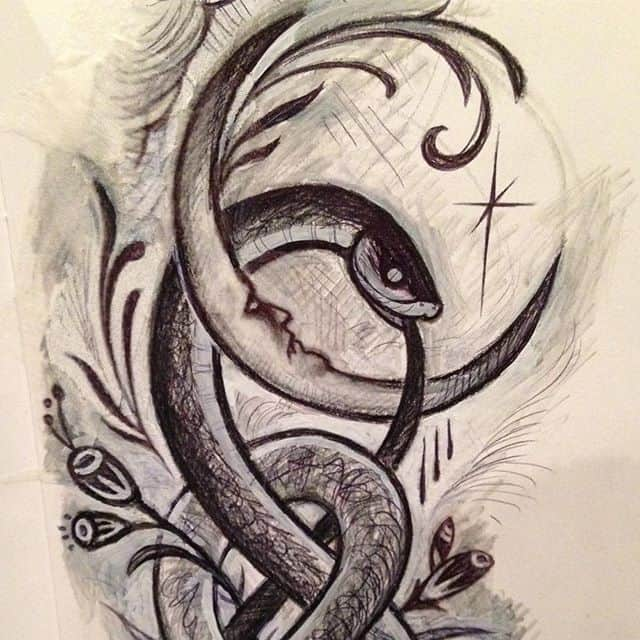 Sketching some new designs today. This will be longish, perfect for inner forearm or calf. Anyone want an etchy sketchy snake moon? :) illustrationtattoo illustratuvetattoo blackngrey blackandgrey gothictattoo edinburghtattooer scottishtattooer studioxiii studioxiiigallery