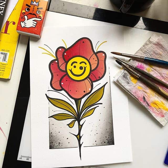 Cowboy juice 🥤 is great for breeding smiley flowers. To be tattooed. . . . . tattooflash tattooing art artist tattooideas rose traditionaltattooflash tradsub neotradsub neotraditionaltattoos traditional oldlines rosetattoo edinburgh uktattoos lines wip flashcollective tttism painting watercolour neotraditional neotrad flowertattoos flowers studioxiii boldwillhold guyswithtattoos girlswithtattoos