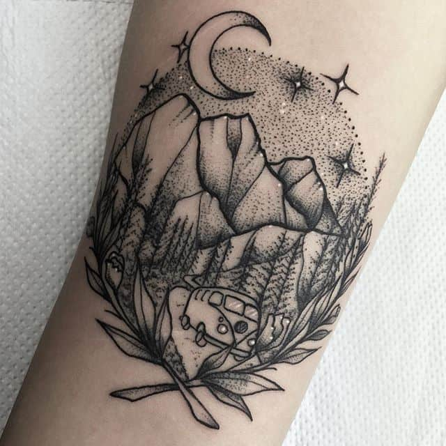 A scenery tattoo from a lovely girly&039;s VW camper travels ️ tattoo edinburghtattoo femaletattooartist tattooartist tattoodesign ladytattooer bestoftheday newschooltattoo photooftheday dotting traveltattoo darkartists tttism equilattera dotwork linesanddots blackwork dotworktattoo @blackworkers_tattoo @darkartists @blackworkers vwcamper blackworkers blackworkerssubmission topclasstattooing btattooing blxckink instatattoos classictattoo geometrictattoo scenerytattoo onlythedarkest studioxiii