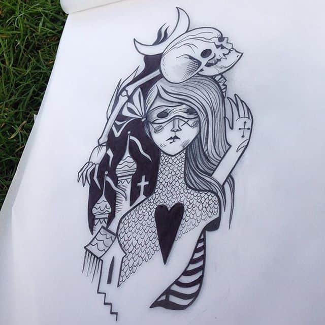 Available to tattoo. Kelpiebat@gmail.com to reserve designs. Ta! illustrationtattoo illustrativetattoo edinburghtattooer scottishtattoo scottishtattooer studioxiii studioxiiigallery blackngrey maskgirl medievaltattoo etchingtattoo skulltattoo iconography medievalart gothic gothtattoo creepy buildinggirl skellygirl