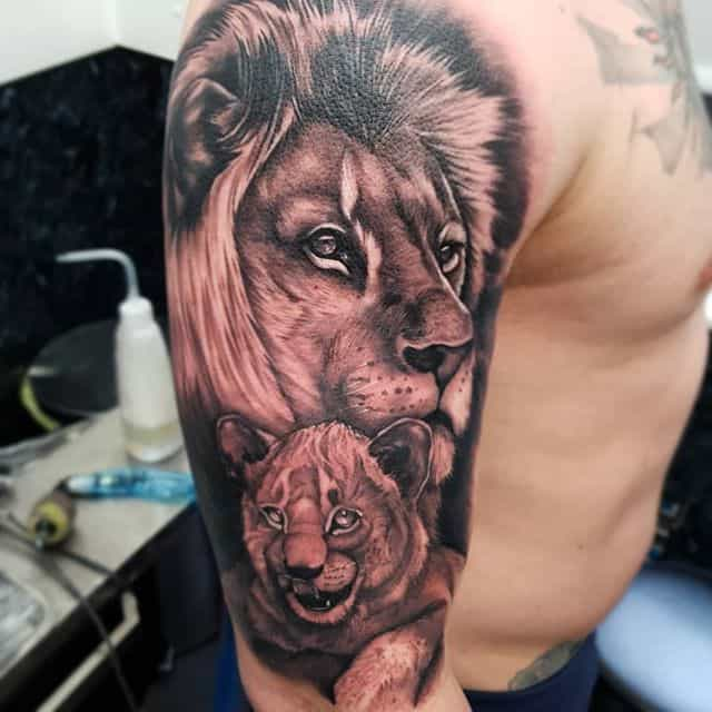 Father and cub . . . . . . . studioxiii liontattoo family blackandgreytattoo blackandgrey realism lion lions love son fatherandson uktattooartist edinburghtattooartist edinburgh worldfamousink tattoo sleevetattoo wip @worldfamousink @tattooeverythingsupplies