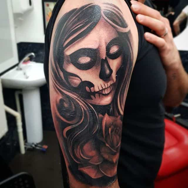 Cover up from just now studioxiii . . . . . . . dayofthedead dayofthedeadgirl tattoo blackandgreytattoo blackwork dark tattooartist edinburgh edinburghtattooartist tattoosleeve coveruptattoo coverup gothic darktattoo wip
