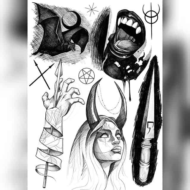 IDEAS studioxiii . . . . . . . flashtattoo tattoodesign tattooart gothic gothicgirl devil dark darktattoo art drawing design vampire bat pentagram hades goth flash artist tattooer tattooartist scotland edinburgh blackandgrey blackandwhite blackwork illustration draw