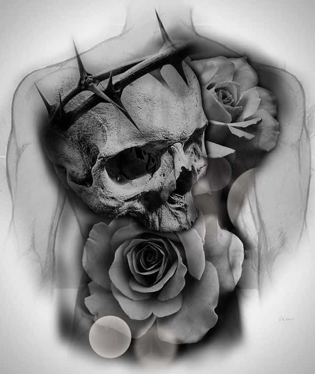 CONCEPTI&039;d love to get some big pieces started. Here&039;s an idea. . . . . . . tattoodesign tattooart conceptart concept skulltattoo skull rose rosetattoo backpiece blackandwhite blackandgreytattoo crownofthorns tattooideas studioxiii