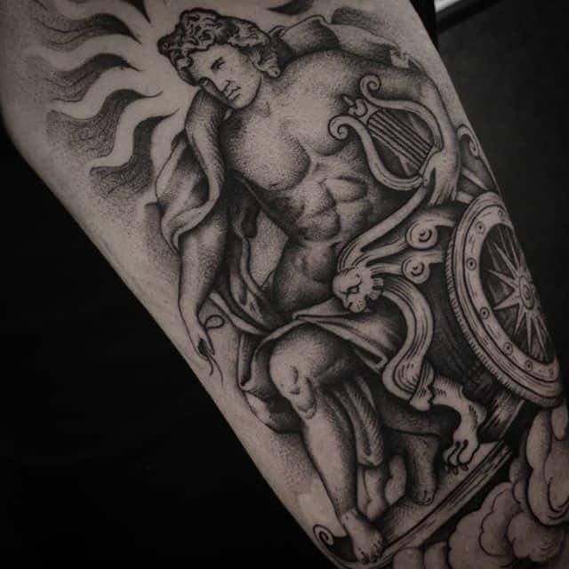 A mix of Greek and Roman art depicting the God of the Sun Apollo and Sol. Thank you so much for the trust this was a really fun project. studioxiii besttattoos greekmythology greekart romanart sol apollo dotworkers dotworktattoo edinburghtattoo uktattooartist uktattooartists newtattoo freshtattoo firsttattoo tattooideas tattooinspiration fineline contemporarytattooing pointillism moderntattoo inkdup inkd tattoolife tattooart