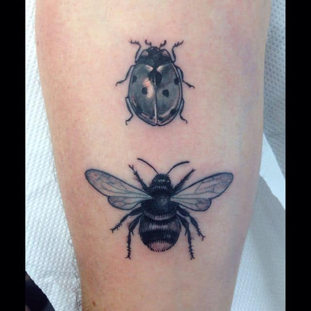 A ladybird and a bee for two little daughters. Thanks so much, Tim! ladybirdtattoo beetattoo bumblebeetattoo blackngrey blackandgrey naturaltattoo wildlifetattoo studioxiiigallery studioxiii