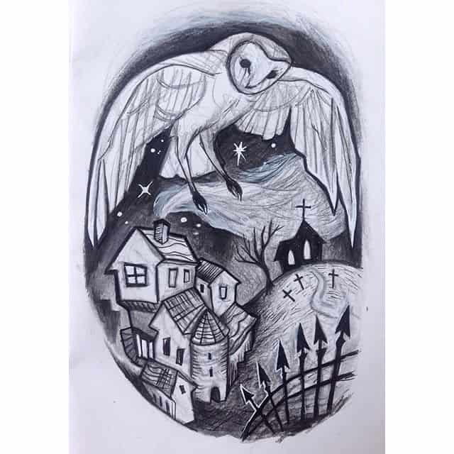 Still messin about with different versions of this scene. I think I like this one best. Send smoke signals if you want it. Would fit thigh or a good sized calf. 🦇 studioxiii studioxiiigallery illustrationtattoo illustrativetattoo kelpiebat