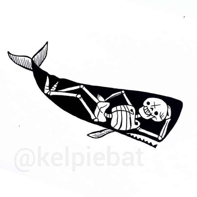 I was told people want whales. So here&039;s one with a naked Burt Reynolds inside.  kelpiebat studioxiiigallery studioxiii cutecreepy creepycute illustrationtattoo illustrativetattoo