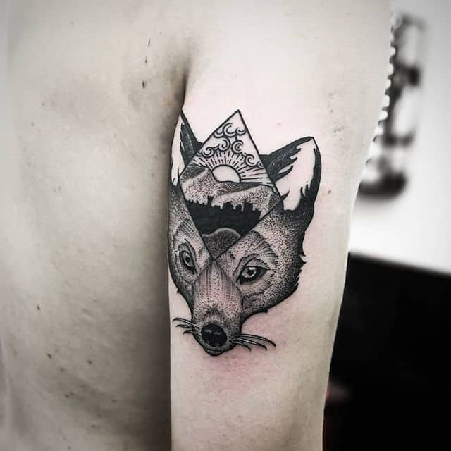 blackwork fox tattoo I did in edinburgh scotland @studioxiiigallery with a view of arthursseat . . . studioxiii kingpintattoosupply miamitattoos miamitattoo tattoos wynwood miamitattooartist miamitattooartist london Miami blackworkers tttism tattoolife tattoosuppliesUK