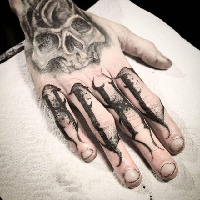"""adhd"" full finger freehand jobstopper lettering tattoo done @icelandictattooconvention in reykjavik . . . . studioxiii kingpintattoosupply dotwork tattoosuppliesUK Miami newyork Iceland peony blackworkers blxckink tattoodo tttism totaltattoo tattoolife mandala"