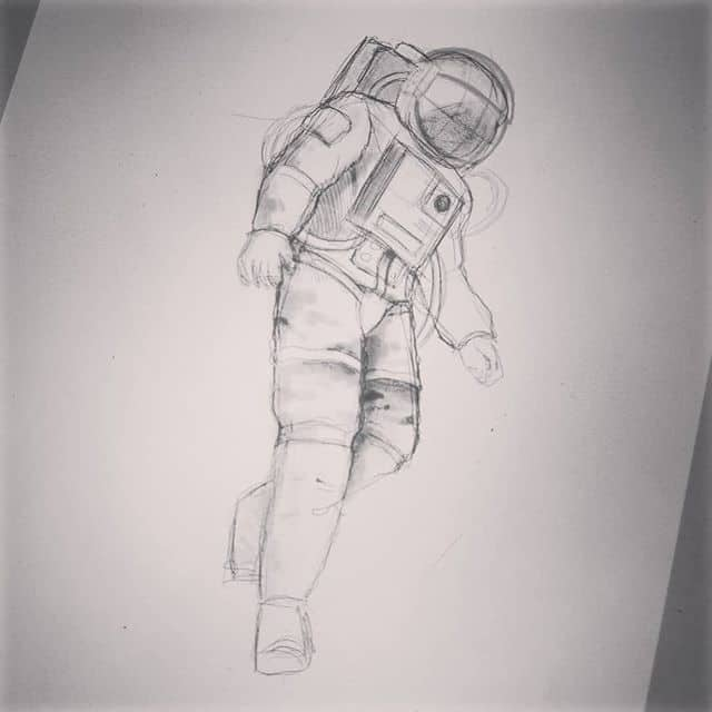 First stage. Sketch. studioxiii astronaut sketching tattooidea quicksketches composition tattooartwork tattooart spaceman cosmos spacelover ipadsketch quickdrawing tattooprocess customtattoo customtattooing