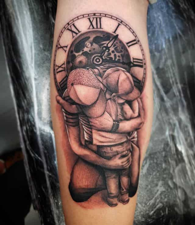 Father?Daughter . . . . . . studioxiii fatheranddaughter father daughter daughters tattoo tribute blackandgrey realism hug love family clock timepiece timepiecetattoo tattooartist tattooer time forever familyfirst