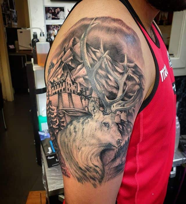 Added a mountainous background and a tiny edinburgh castle to an existing stag tattoo . . . . . . . . . edinburgh edinburghcastle blackandwhite blackandgrey stag tattoo scotland landscape landscapetattoo realism realistic nature scene winter studioxiii