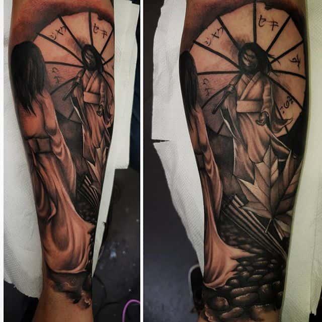 ☂️ . . . . . . . studioxiii umbrella geisha tattoo blackandgreytattoo japanesegirl japanesetattoo blackandgrey scene asian sleeve tattooartist tattooer