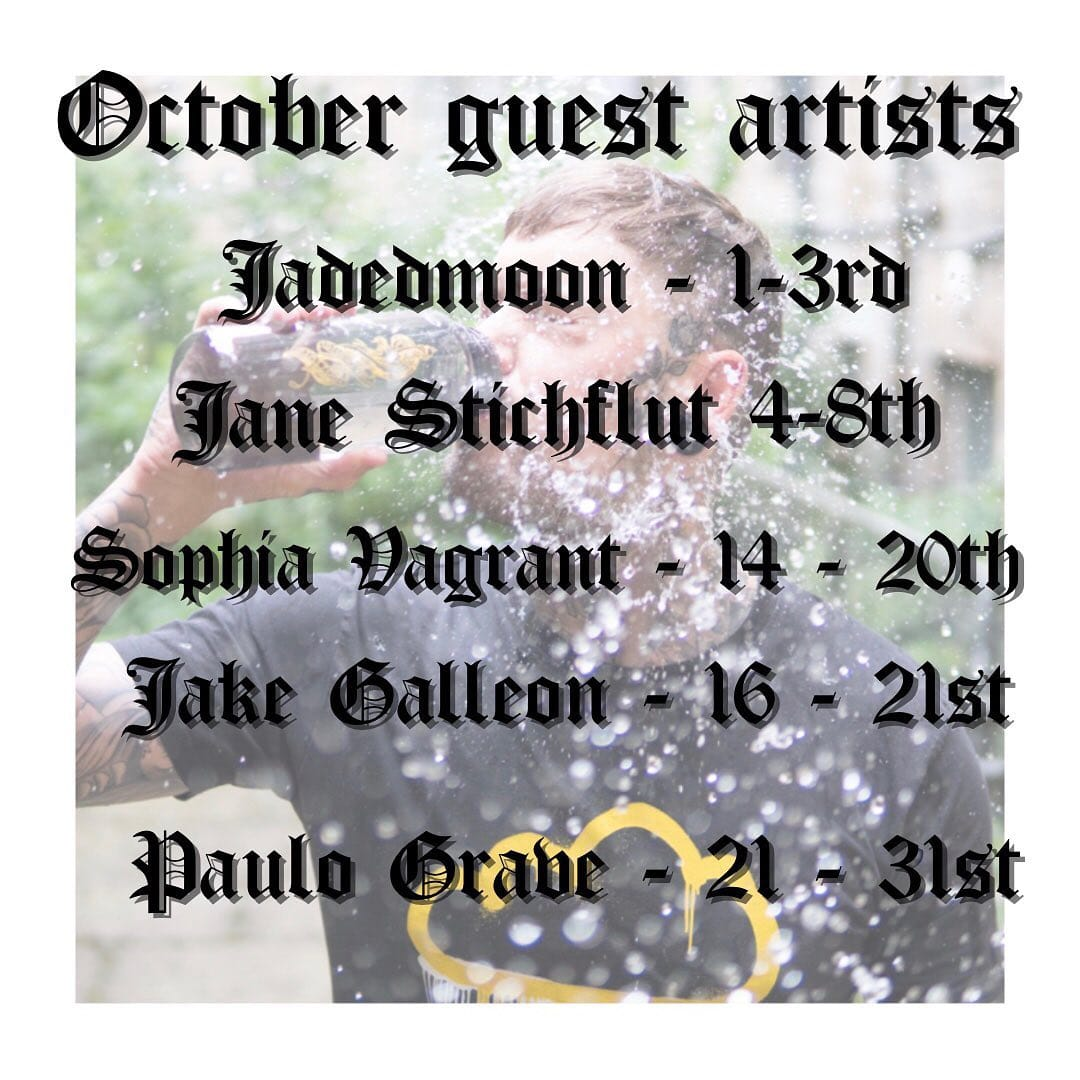 Our October guests are just as epic as you'd expect! We have @jadedmoontattoos , @jane_stichflut , @vagrant.tattoo , @galleontattoo and our favourite human @paulograve makes his return ————— ————— uktattooartists uktattoo inked inkedmag skinart skinartmag traditionaltattoo tradworkers colourtattoos scotland edinburghtattoo edinburghlife scotlandtattoo uktta oldschooltattoo fineline cleanwork inkdup inkd skindeep performer besttattoos blackclaw girlswithtattoos uktattoosupplies blackclaw solidink sailorjerry blackclaw starbritecolors studioxiii @barber_dts @easytattoo_uk @eternalink @dynamiccolor @lockdownneedle @stencilstuff