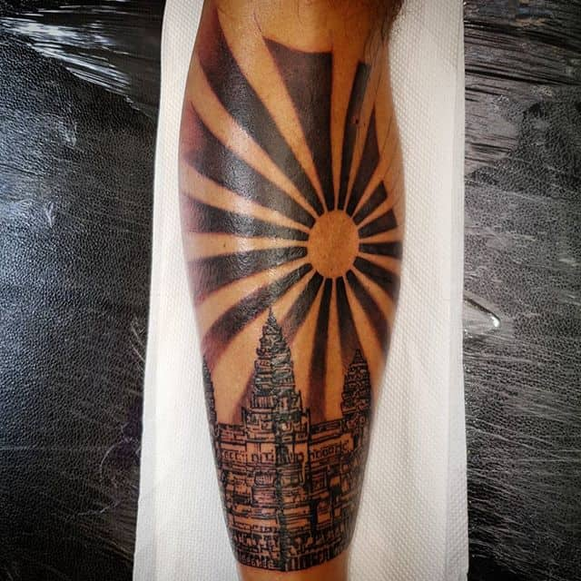 Cambodian temple shin piece from today . . . . . . . . . studioxiii cambodia cambodian temple blackandgrey tattoo travel tattooartist tattoostyle