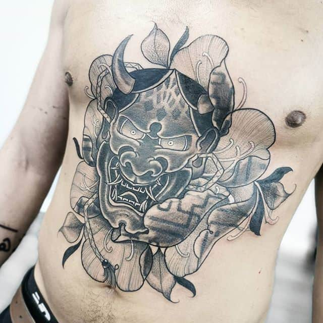 Got to tattoo this massive hannya and blackwork peony yesterday @dreambentstudios in Denver colorado . Swipe to see the cover up . . . . kingpintattoosupply studioxiii Denvertattoo broncos Denvertattoos miami coloradosprings boulder aspen vail rockies rockymountain tattoos stipple blackworkers