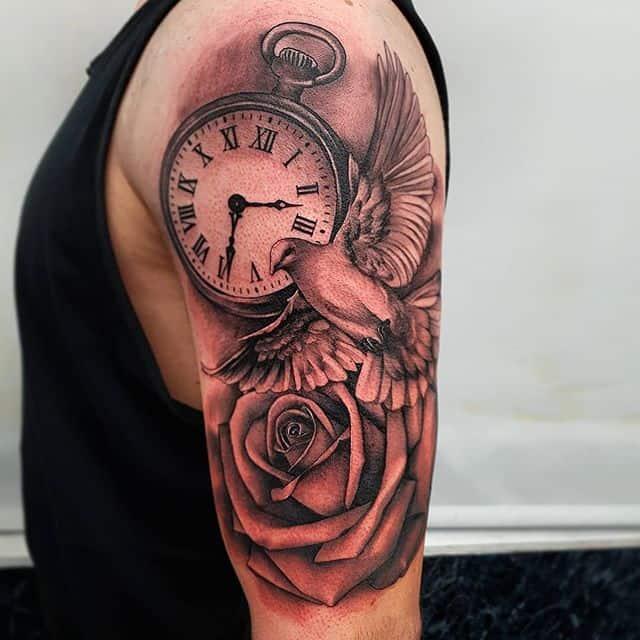 🕊🕝 . . . . . tattoo timepiece pocketwatch pocketwatchtattoo rose dove studioxiii tattooartist tattooartistuk edinburgh ink tattoos inked tattooed picoftheday art love pic photooftheday photo blackandgrey blackngrey instagram artist design tattooer