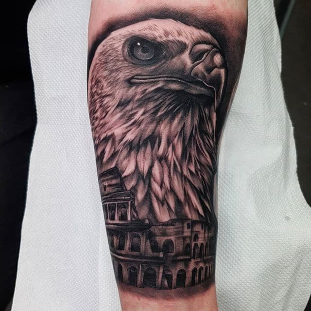 🦅 . . . . . . tattoo eagle colloseum studioxiii tattooartist tattooartistuk edinburgh ink tattoos inked tattooed picoftheday art love pic photooftheday photo blackandgrey blackngrey instagram artist design tattooer