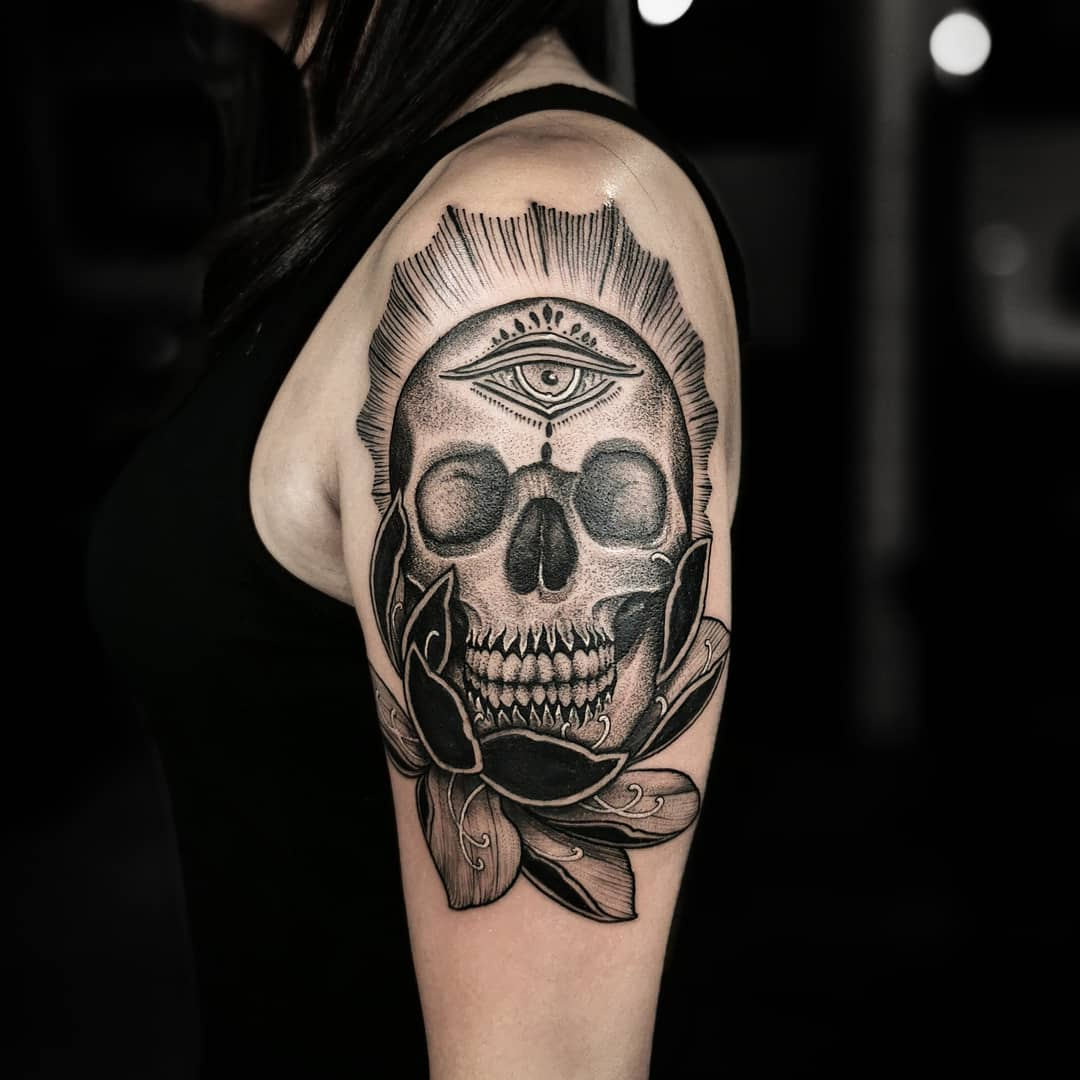 Had a blast tattooing this blackwork skull and Lotus tattoo here @allsacredtattoo in Denver colorado . . . studioxiii tattoosuppliesUK kingpintattoosupply Denver colorado  miamitattoos miamitattoo tattoo wynwood  stipple  Miami