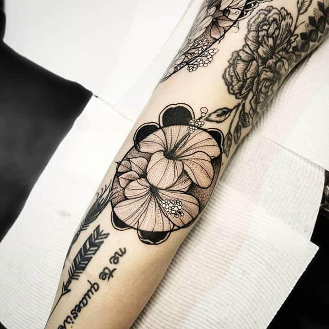 blackwork hibiscus tattoo done over @austattooexpo in melbourne . . . . studioxiii tattoosuppliesUK kingpintattoosupply Denver colorado newyork  miamitattoos miamitattoo tattoos wynwood  stipple miamitattooartist  Miami  blackworkers australia