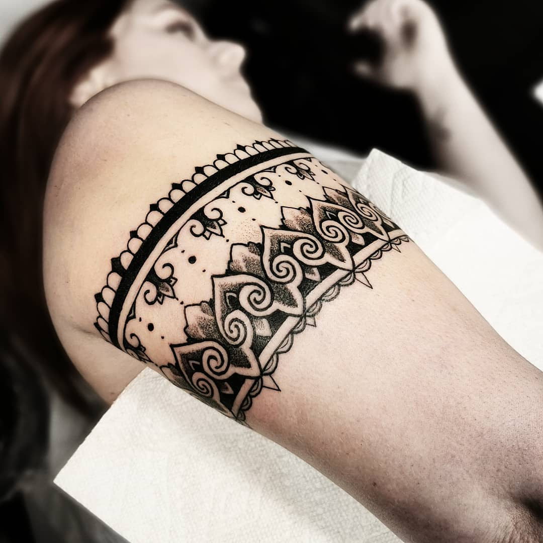 armband I got to tattoo in phildelphia This past weekend .. . .  kingpintattoosupply studioxiii newyork miamitattoos miamitattooartist italy tattoos  stipple miami  milan  dotwork blackwork